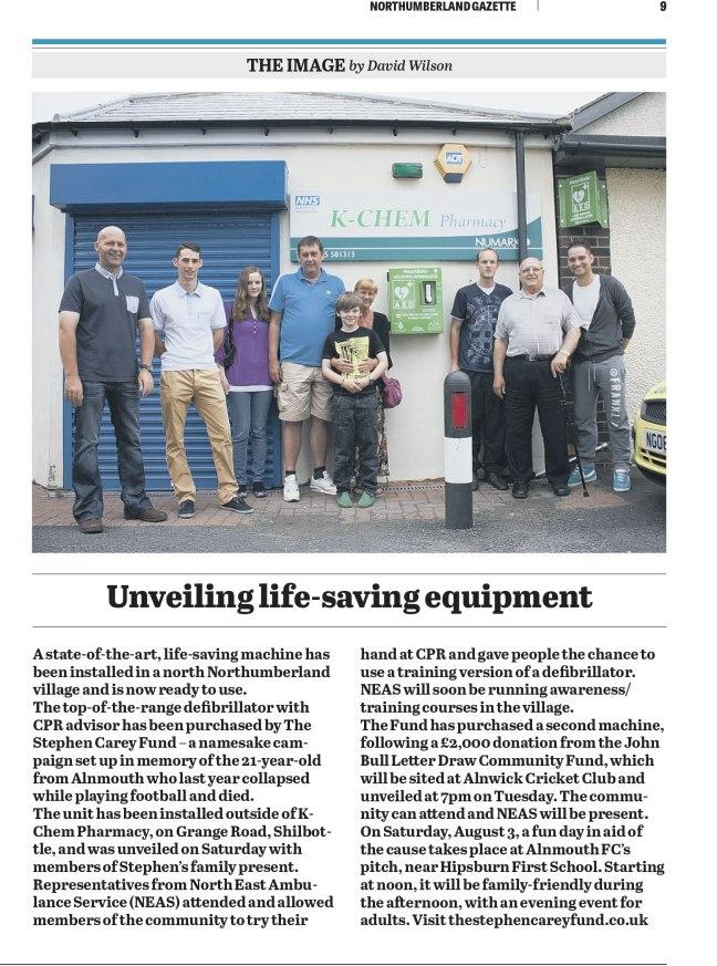 The Stephen Carey Fund featured in Northumberland Gazette