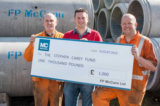 FP McCann donates £1,000 to The Stephen Carey Fund