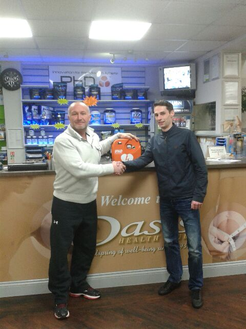 Oasis Health Club in Ashington received defibrillator from The Stephen Carey Fund