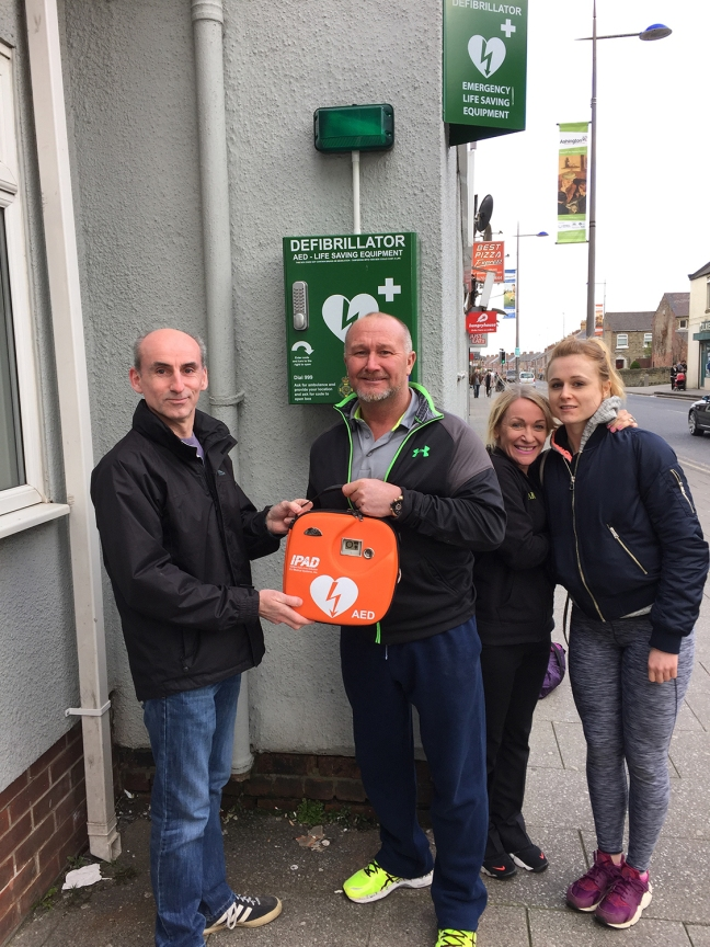 Defibrillator unveiled Oasis Health Club, Ashington